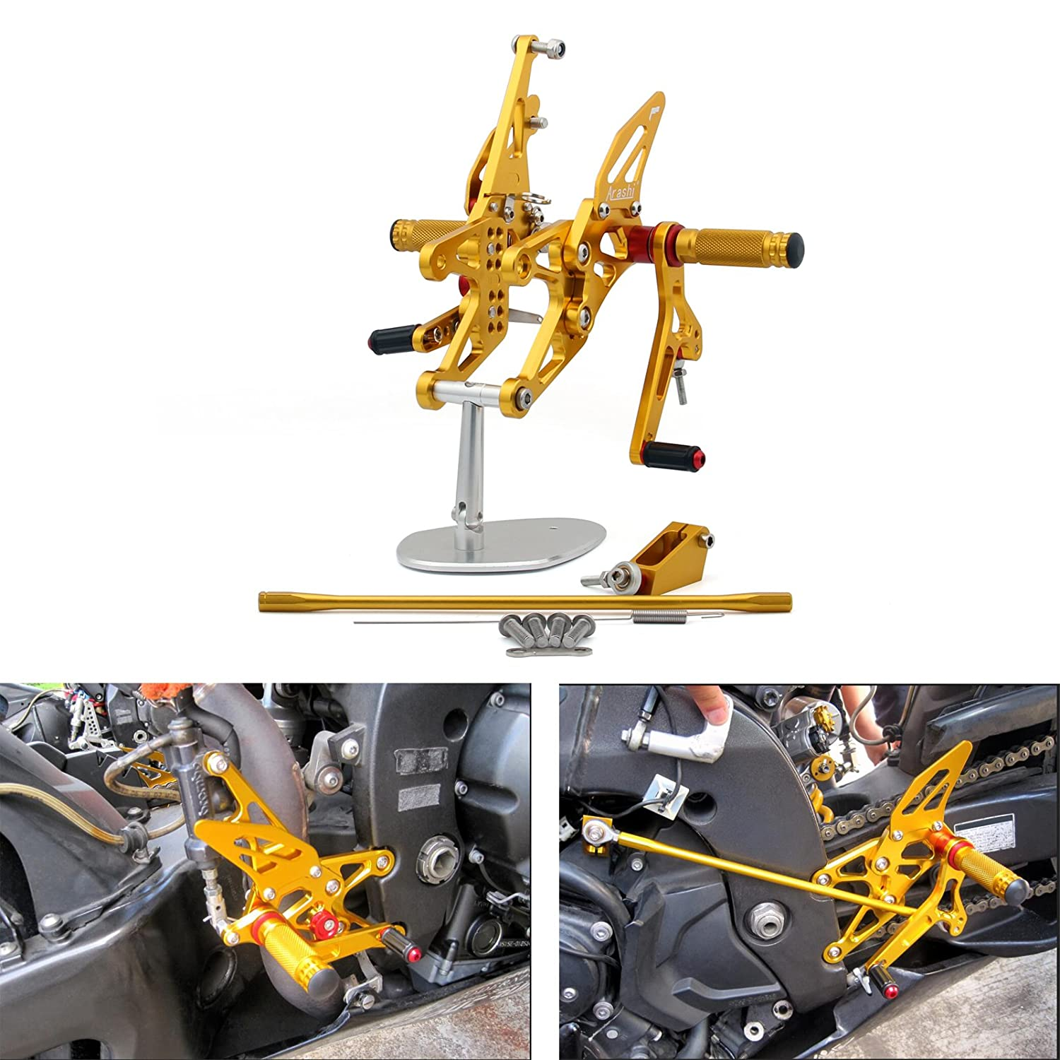 Areyourshop Rearset Rear set For Yamaha YZF 1000 R1 2007-2008 Gold M528-B012-Gold