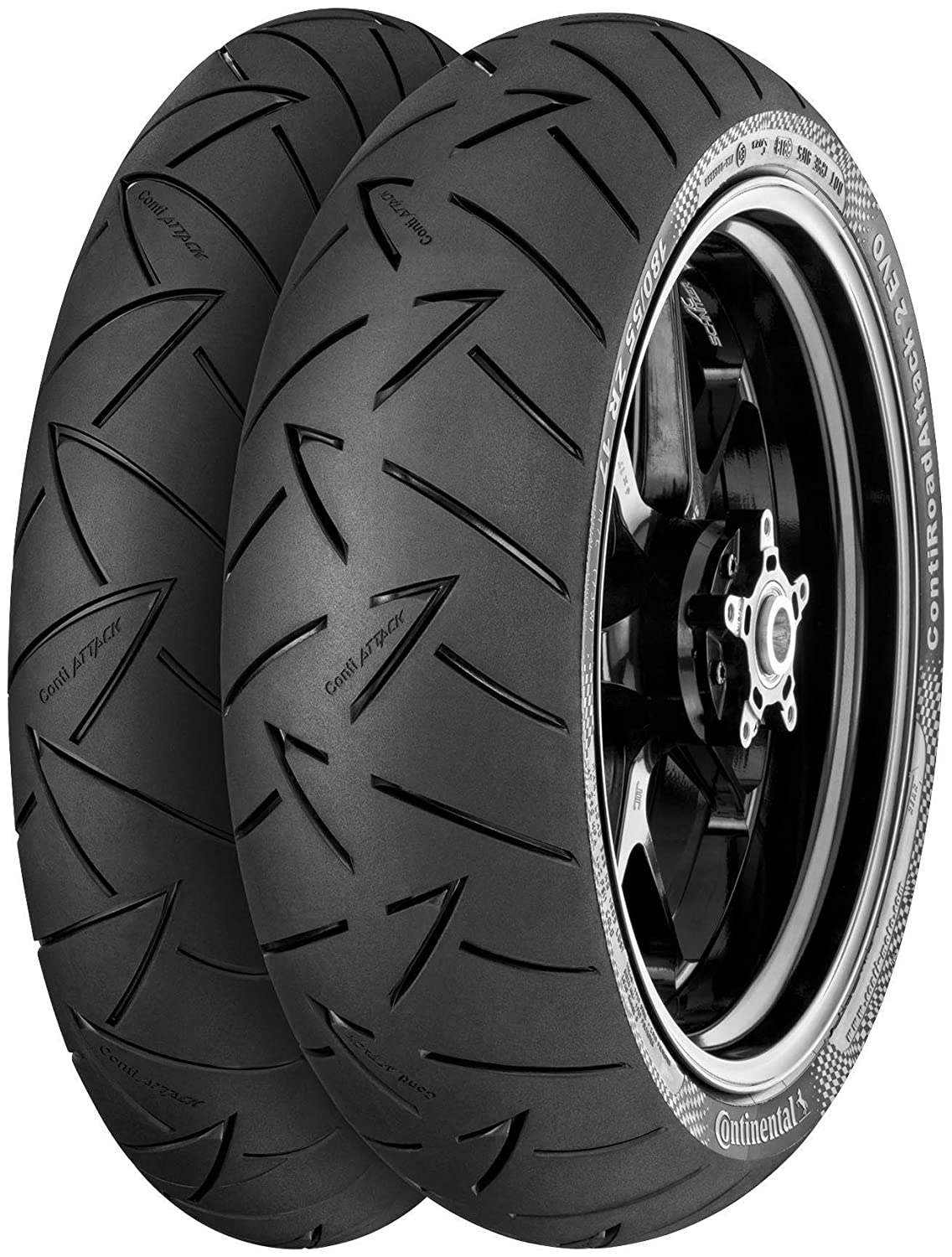 Continental Conti Road Attack 2 EVO Hyper Sport Touring Tire - Rear - 180/55ZR-17 , Position: Rear, Rim Size: 17, Tire Application: Touring, Tire Size: 180/55-17, Tire Type: Street, Load Rating: 73, Speed Rating: W, Tire Construction: Radial 02443550000