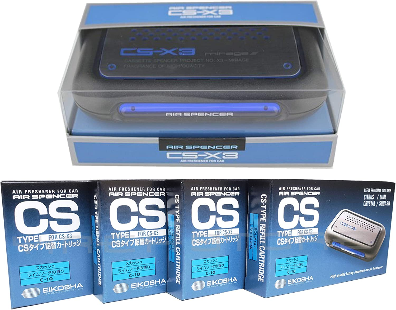 CSX3 Squash Scent 1 Unit and 4 Refill Cartridges CS-X3 Bundle Car Air Freshener