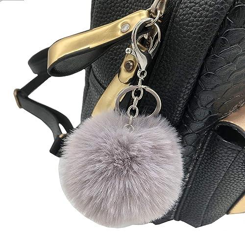f7448a4e05f Faux Fox Fur Pom Pom Ball Keychain Purse Bag Charm Fluffy Ball Key Chain  for Women