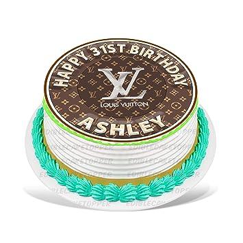 Louis Vuitton Edible Cake Topper Personalized Birthday 8 Round