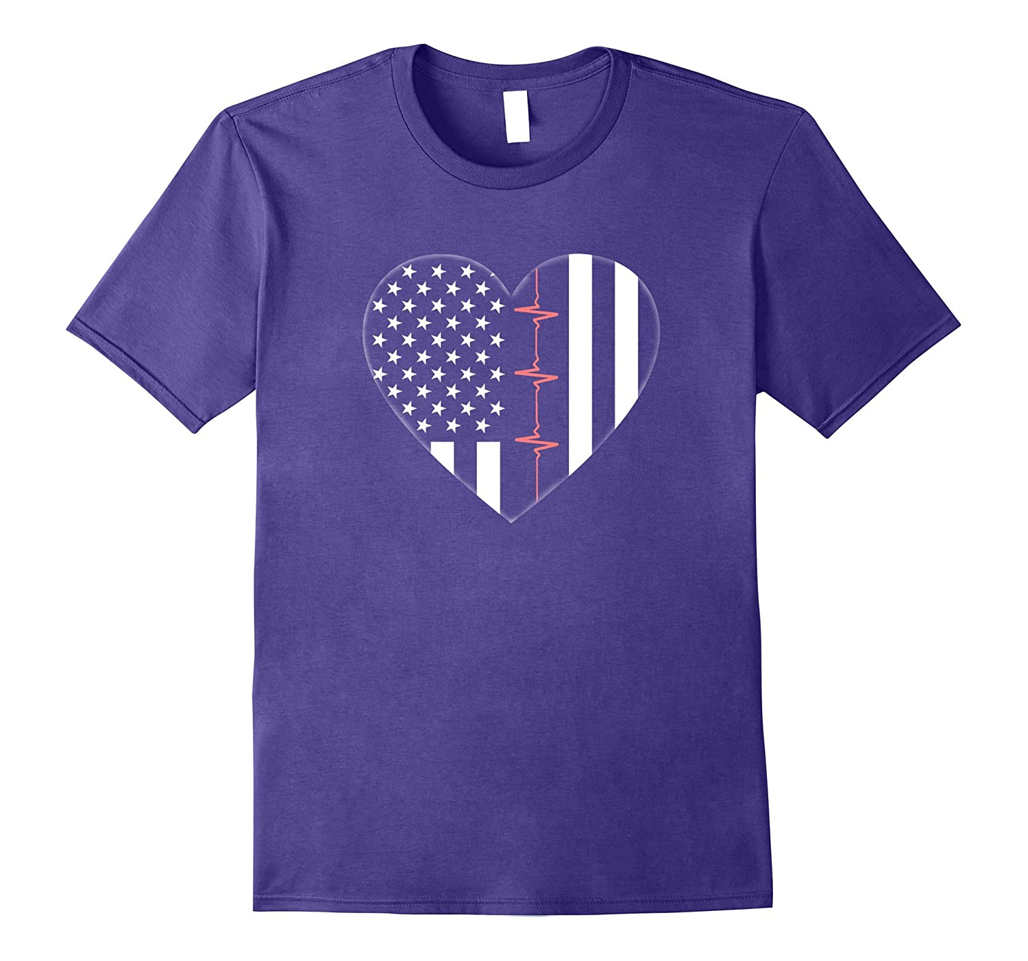 Doctor Nurse EMT Heartbeat USA American Flag Stars Stripes-ANZ