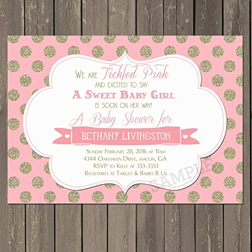Amazon Com Pink And Gold Baby Shower Invitation Tickled Pink Baby