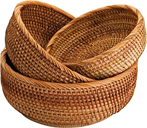 Jucoan 3 Pack Natural Wicker Fruits Bread Baskets, Vintage Round Food Serving Baskets, Handmade Rattan Storage Baskets for Kitchen, Home, 3-Size