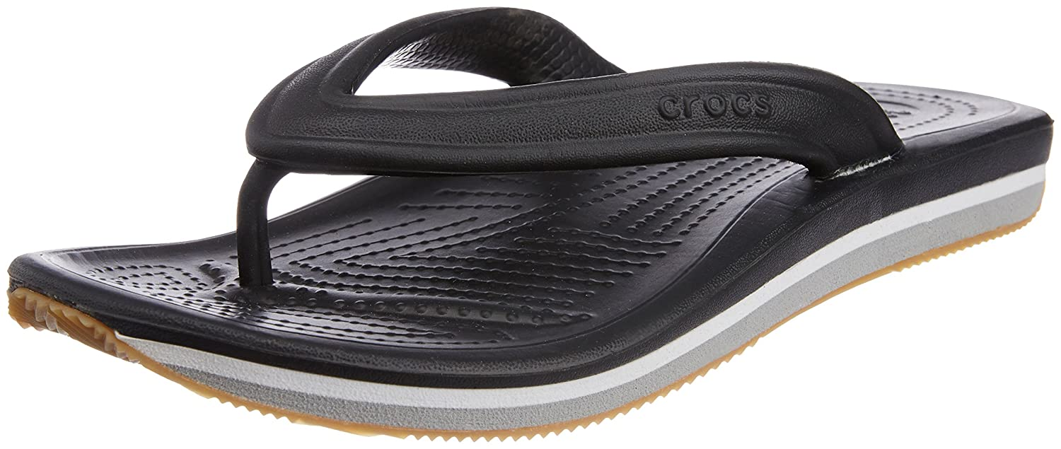 9c1234d2f639 crocs Unisex Retro Black and Light Grey Rubber Flip Flops Thong Sandals -  M11  Buy Online at Low Prices in India - Amazon.in