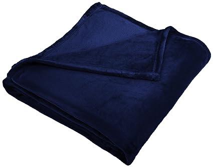 1b65e45d24b2 Amazon.com: Pinzon Velvet Plush Blanket - Full/Queen, Navy: Home ...