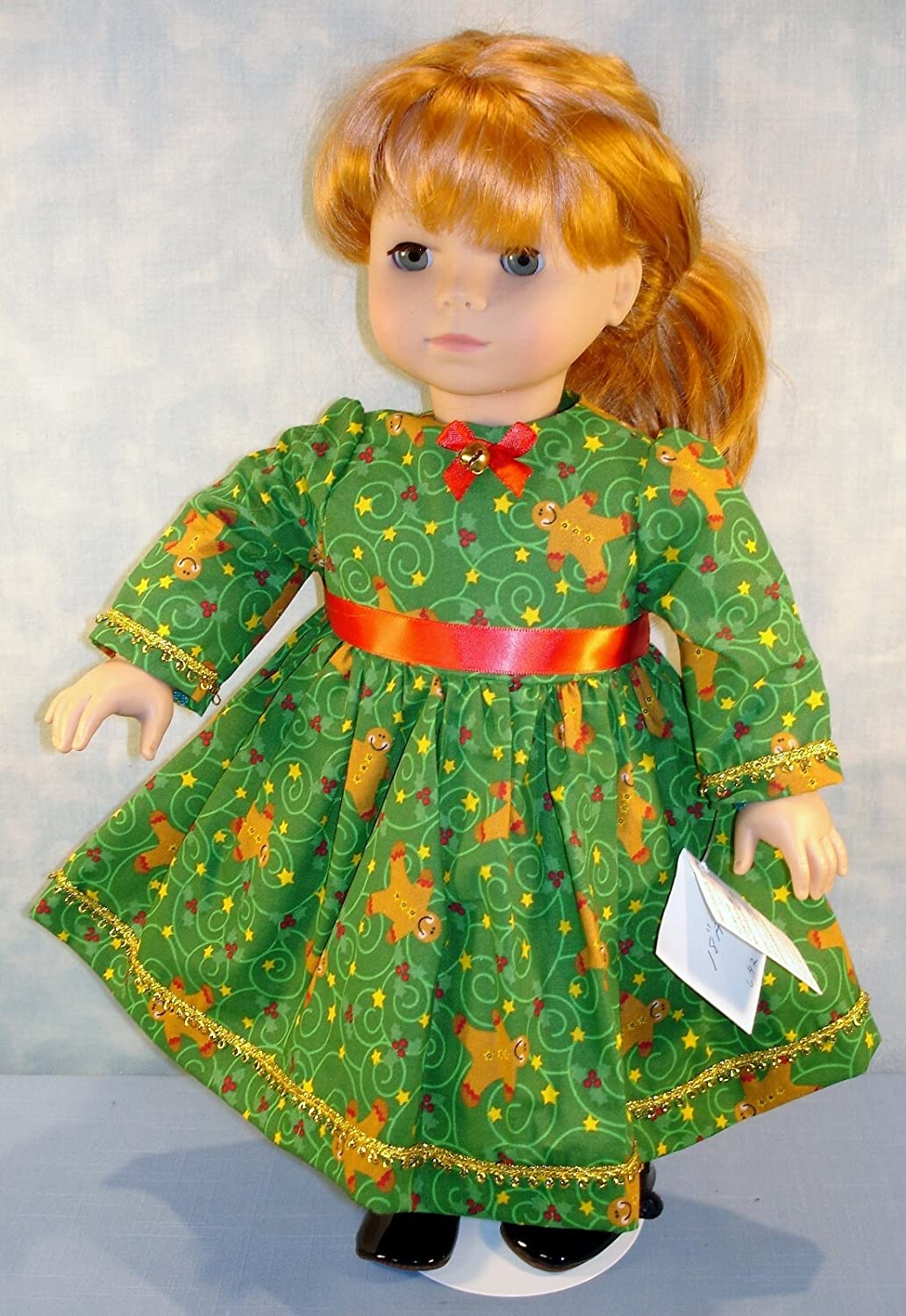18 Inch Doll Clothes Gingerbread Men on Green Christmas Dress handmade by Jane Ellen for 18 inch dolls
