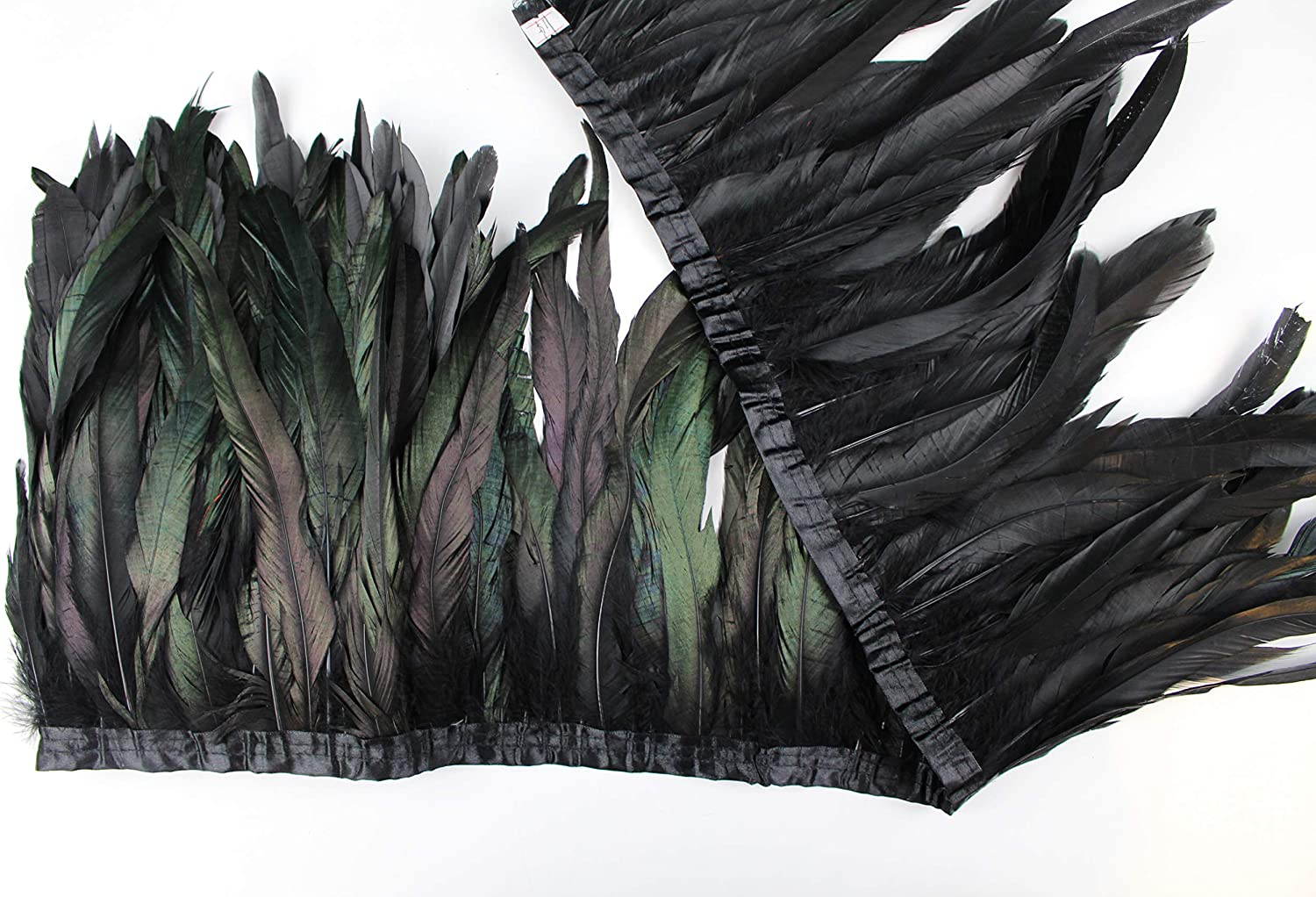 1Pc Black Bronze Rooster Coque Feather Fringe Ribbon Trim Craft Cosplay Decor