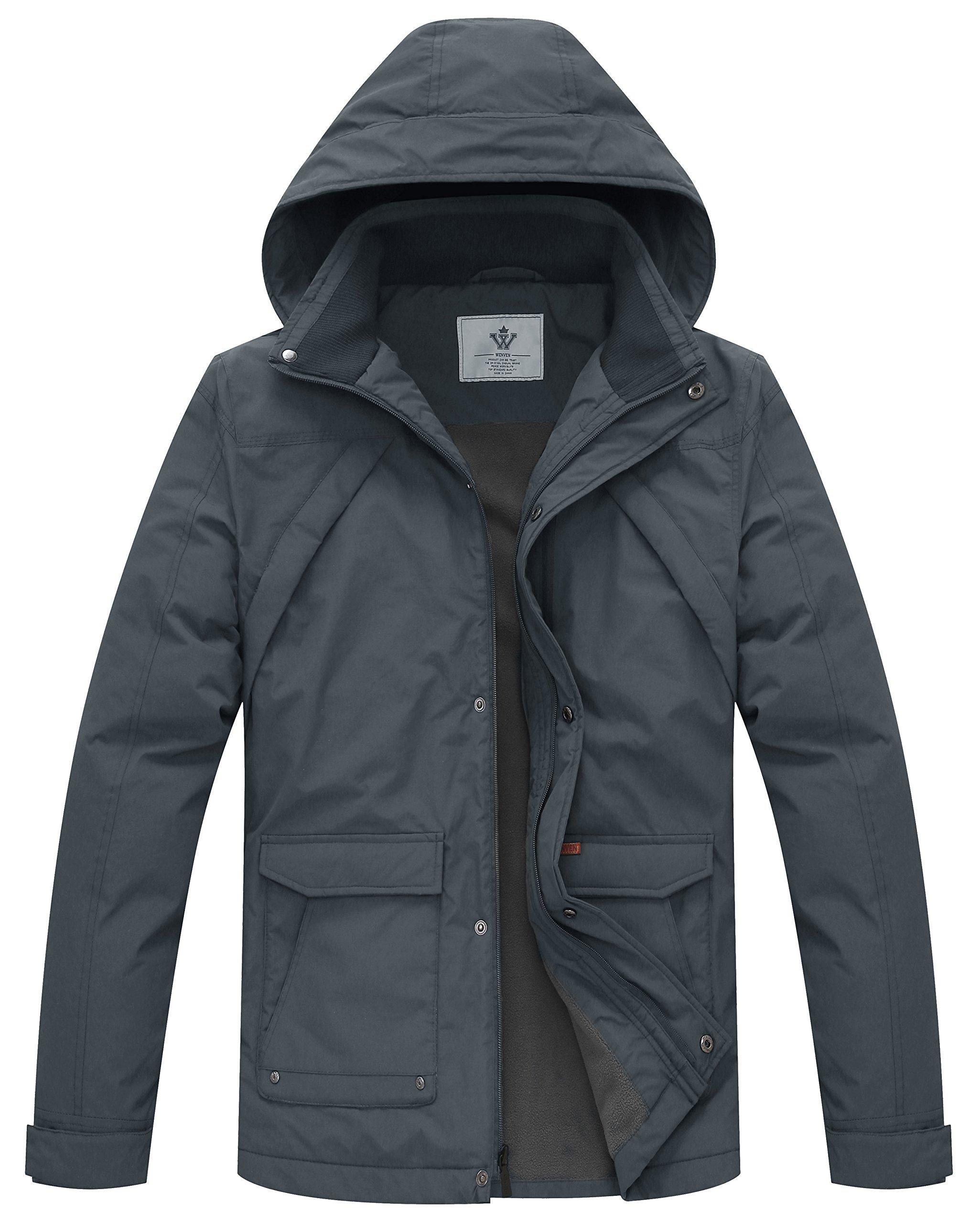 WenVen Men's Parka with Removable Hood(Grey,Large)