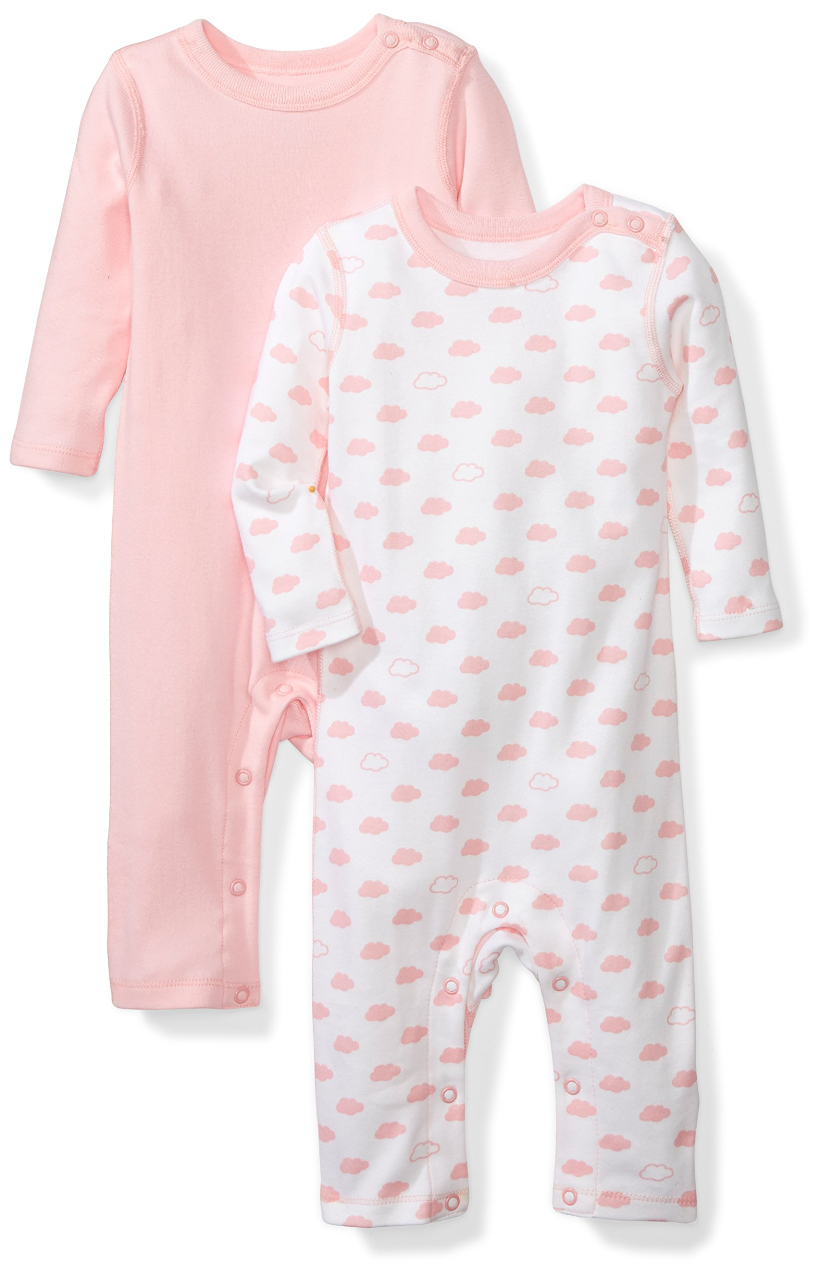 Moon and Back Baby Set of 2 Organic Long-Sleeve Snap-Shoulder Coveralls, Pink Blush, 3-6 Months by Moon and Back
