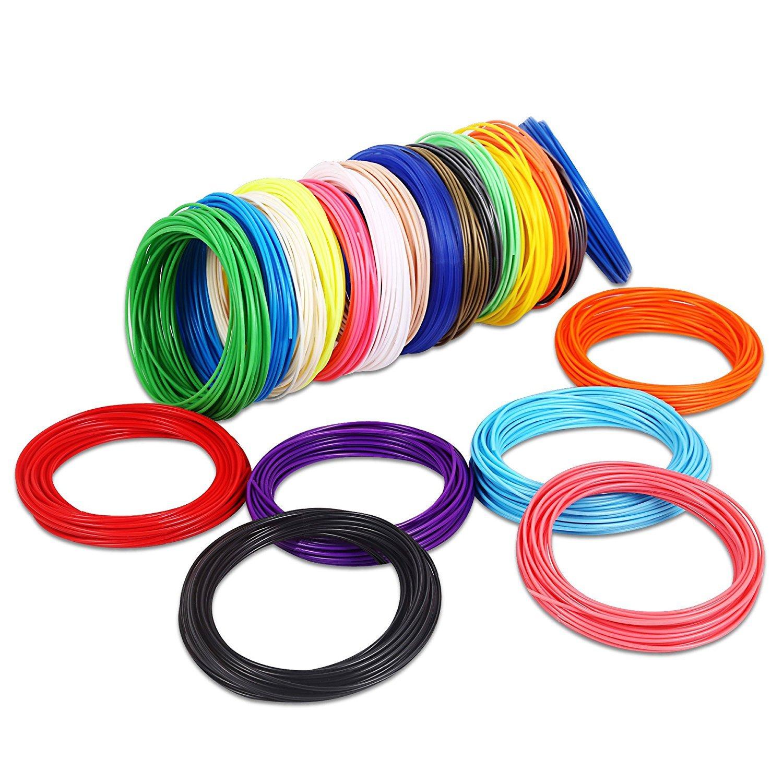 Canbor 3D Pen Filament Refills 3D Printing Pen Filament 1.75mm PLA Filament Pack for 3D Printing Pen with 20 Colors 32.8 Feet per Color Total 656 Feet CD-3DPen-Fialment