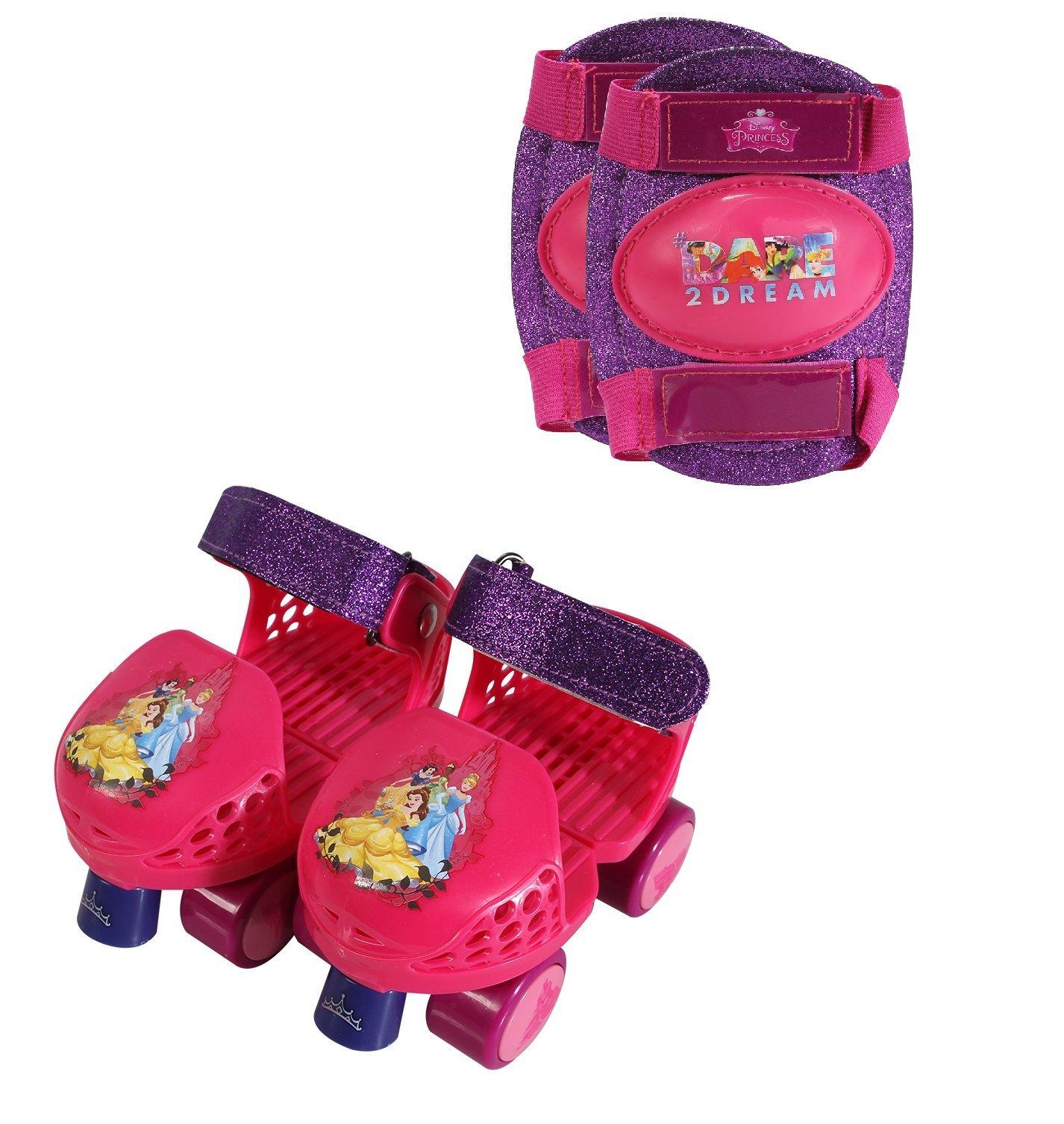 PlayWheels Disney Princess Kids Glitter Roller Skates with Knee Pads - Childrens Adjustable Skates - Junior Size 6-12 by PlayWheels