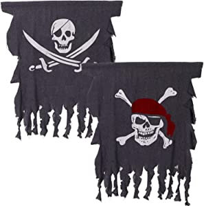 2 Pieces Halloween Pirate Flag 3 x 2.5 Feet Jolly Roger Flag Weathered Pirate Flag Retro Pirate Creepy Ragged Flag Skull Bones Pirate Banner for Halloween Decorations, Pirate Party, Kids Room Decor