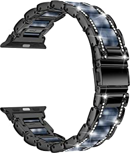 Moolia Metal Strap Band Compatible with Apple Watch Band 42mm 44mm Womens Men Rhinestones Resin Metal Wristband Bracelet Replacement for iWatch Series 6 5 4 3 2 1 Black + Dark Blue