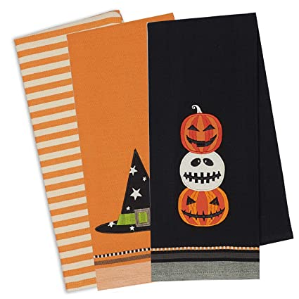 dii cotton halloween holiday decorative dish towels 18x28 set of 3 halloween
