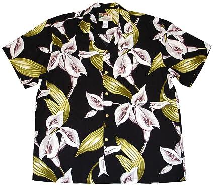 91efd2a6ab2d46 Paradise Found Men's Calla Lily Tom Sellect Magnum PI Hawaiian Shirt,  Black, ...