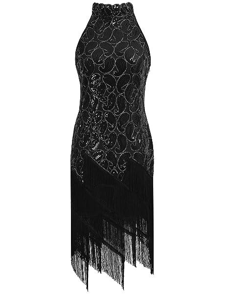 kayamiya Vintage Años 20 lentejuelas de cachemir borla estilo vintage vestido de fiesta de la mujer