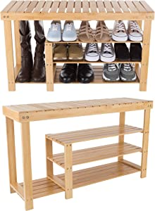 Lavish Home 83-57 Bamboo Shoe and Boot Rack Bench, 3 Tier, Wood