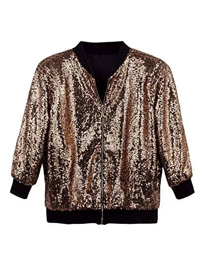 184f71b9 Amazon.com: Vijiv Women's Sparkle Sequin Bomber Jacket Long Sleeves Front  Zip Blazer Jacket with Ribbed Cuffs: Clothing
