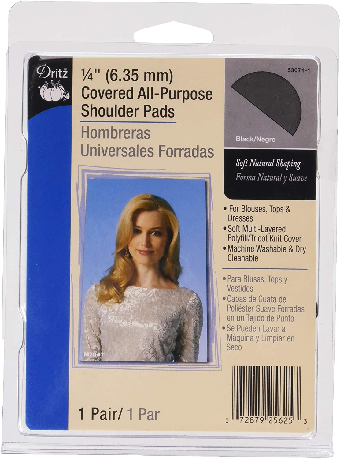 "Dritz 53071-1 Shoulder Pads, Covered All-Purpose, 1/4"", Black: Arts, Crafts & Sewing"