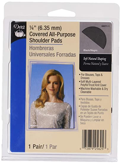 """Dritz 53071-9 1//4/"""" Covered All-Purpose Shoulder Pads 2//Pkg-White"""
