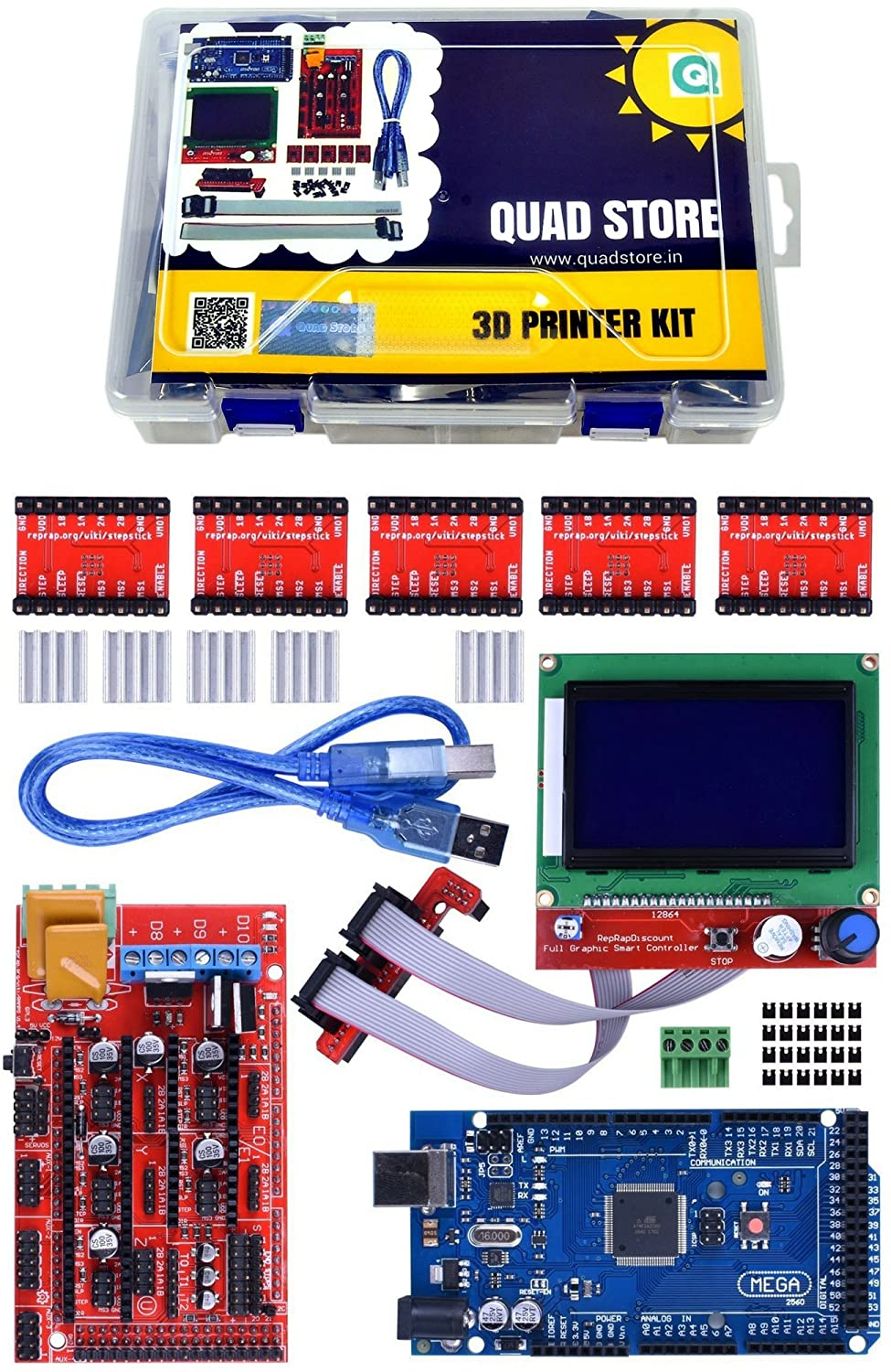 Quad Storetm 3d Printer Kit With Arduino Mega 2560 Ramps14 Diy Connections Of Ramps 1 4 Shield A4988 And 12864 Smart Lcd Industrial Scientific