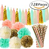 Paxcoo Mint Peach and Gold Party Decorations for Bridal Baby Shower