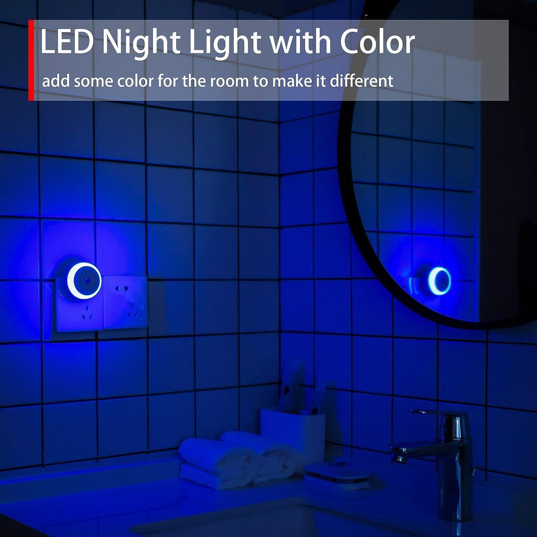 Lot de 2 Escaliers Lumi/ère Diffuse Veilleuse LED Chambres denfants /économe en /énergie Couloirs Veilleuse Enfichable pour Chambres Aalles de bains Avec Capteur Cr/épusculaire Veilleuse Verte