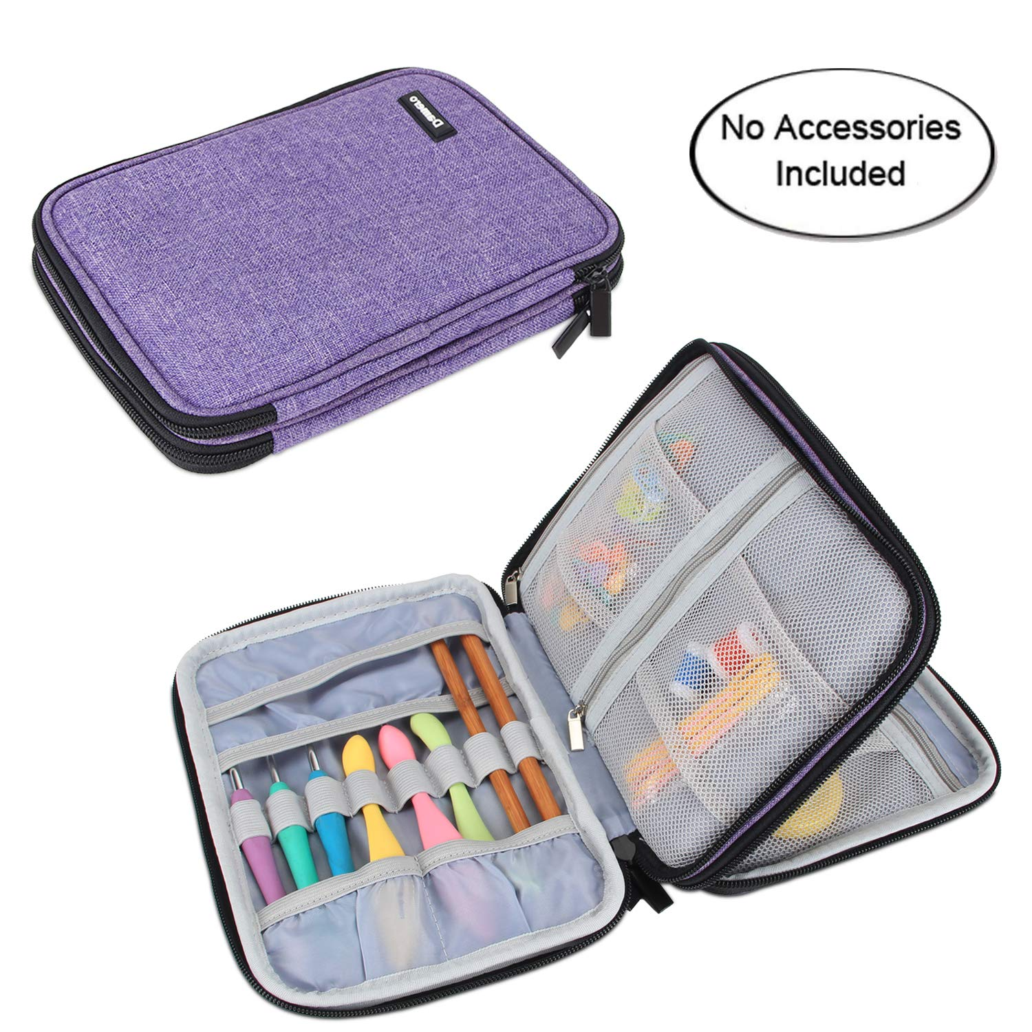 Damero Crochet Hook Case, Travel Storage Bag for Swing Crochet Hooks, Lighted Hooks, Needles(Up to 8'') and Accessories, Large, Purple (No Accessories Included)