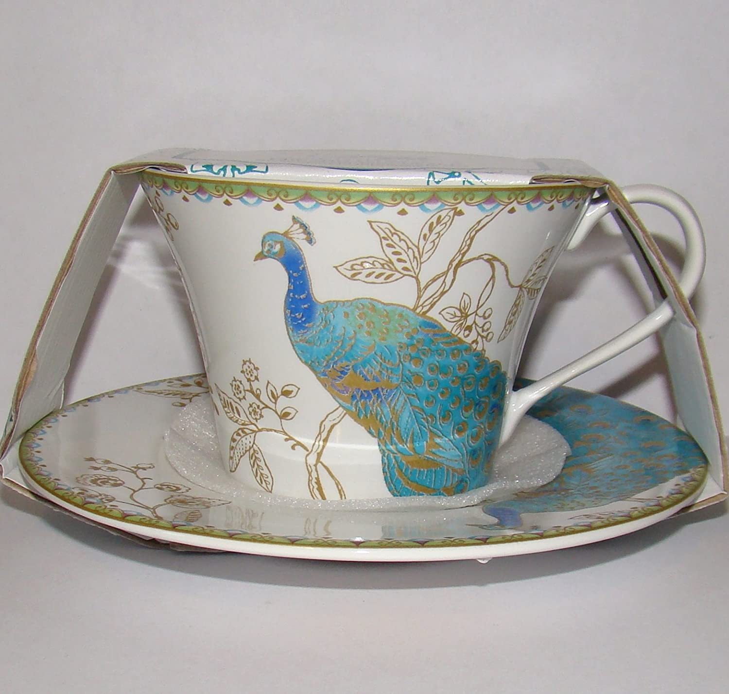 222 Fifth Peacock Garden Cup & Saucer For Coffee or Tea Fine China Tableware SYNCHKG067992