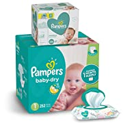 Diapers Newborn / Size 1 (8-14 lb), 336 Count and Baby Wipes - Pampers Baby Dry Disposable Baby Diapers, 252 Count ONE MONTH SUPPLY with Baby Wipes Sensitive 6X Pop-Top Packs