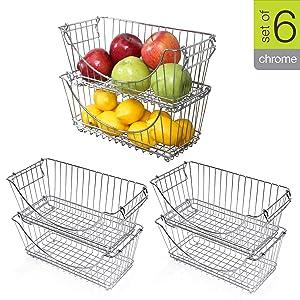 Smart Design Stacking Baskets Organizer w/Handle - Medium - Steel Metal - Food, Fruit, Vegetable Safe - Kitchen (12.63 x 5.5 Inch) [Chrome] - 2 Pack (Set of 3) [6 Baskets Total]