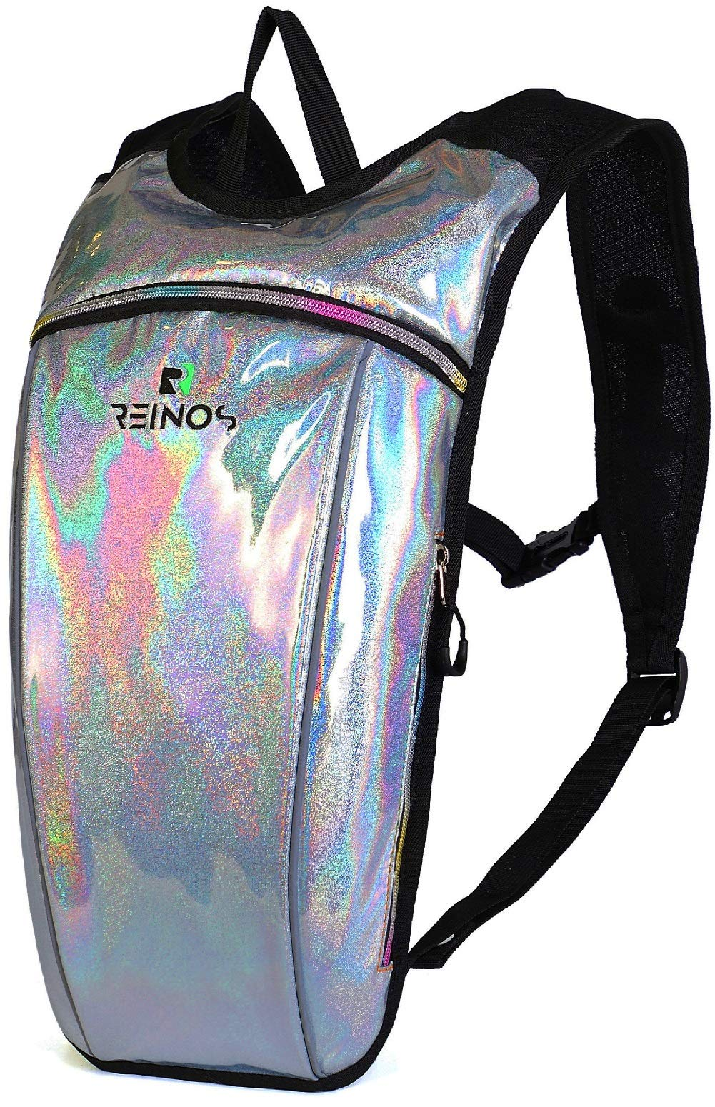 REINOS Hydration Backpack - Light Water Pack - 2L Water Bladder Included for Running, Hiking, Biking, Festivals, Raves (Snow)