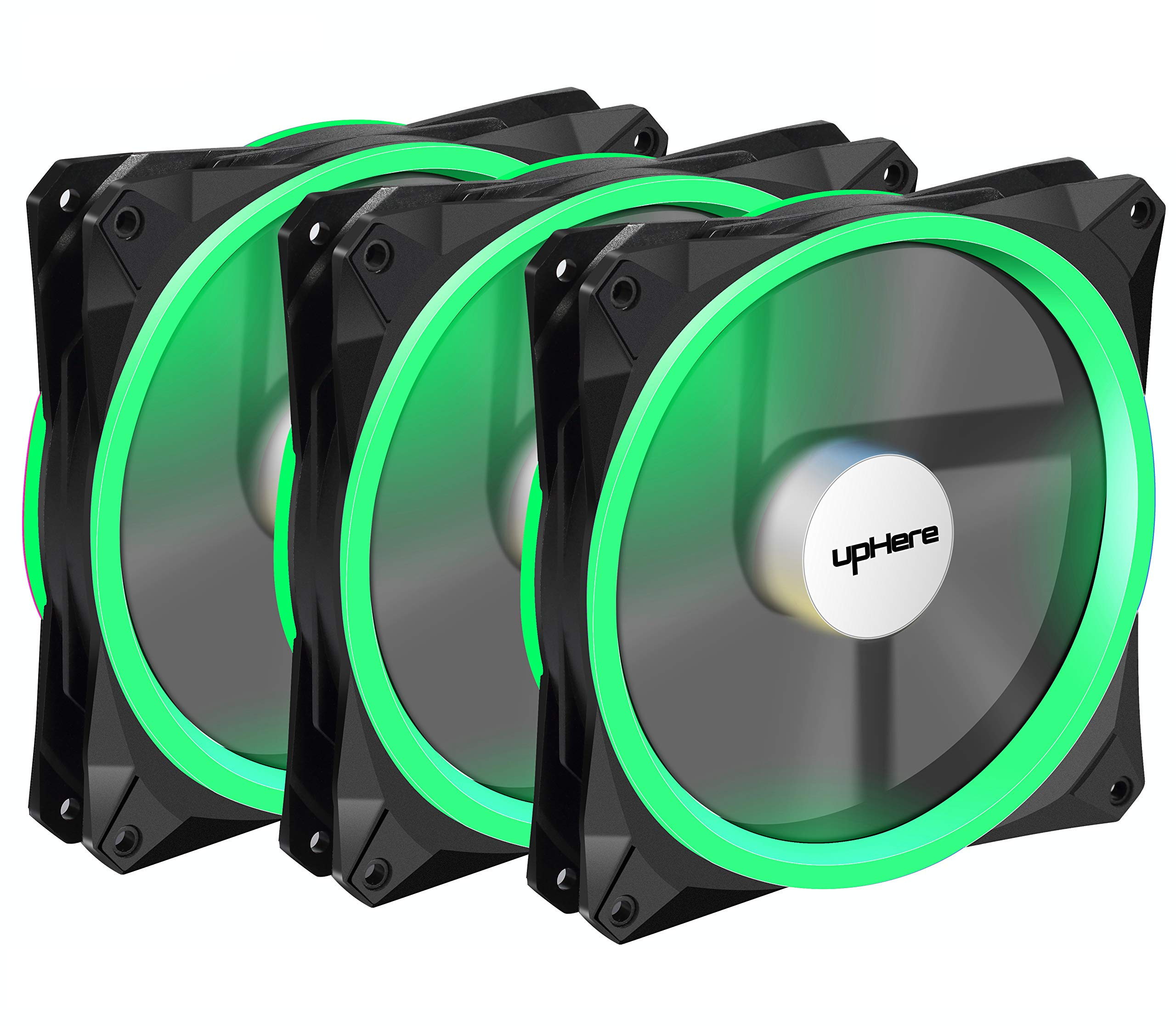 upHere 140mm case fan 3PACK Solar Eclipse Hydraulic Bearing quiet cooling case fan for computer MIRAGE Color LED fan 3 pin with Anti Vibration Rubber Pads(Green) 14CMG3-3