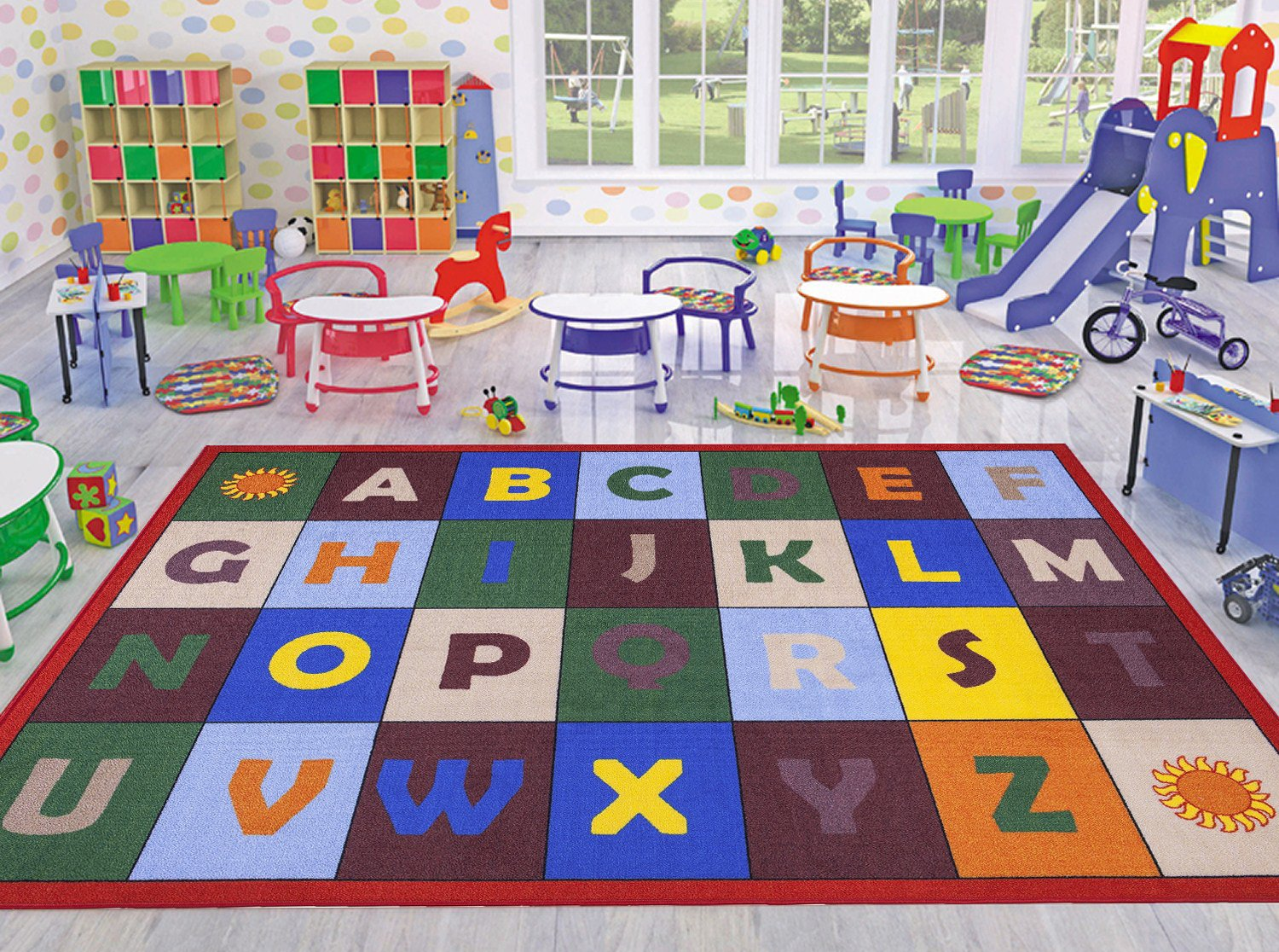 Ottomanson Jenny Collection Red Frame with Multi Colors Kids Children's Educational Alphabet Design (Non-Slip) Area Rug, 5'0'' X 6'6'', Multicolor
