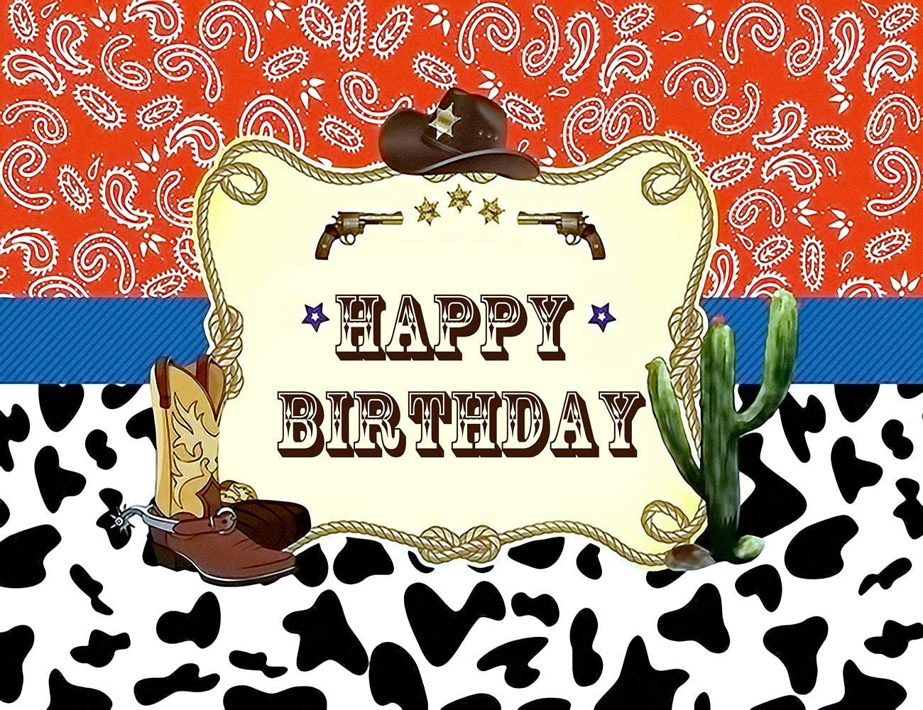 LB 7x5ft Cowboy Backdrops for Kids Children Birthday Party Photography Background Baby Shower Photo Backdrop Cactus Desert Black and White Spots Decor,Fabric Seamless Washable Photoshoot Studio Props