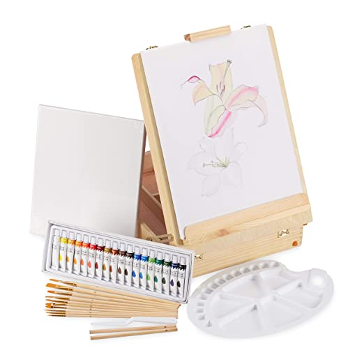 Malkoffer XL Malset 74-teilig Künstler Farben Set Acryl Öl Malerei-Set Art Set