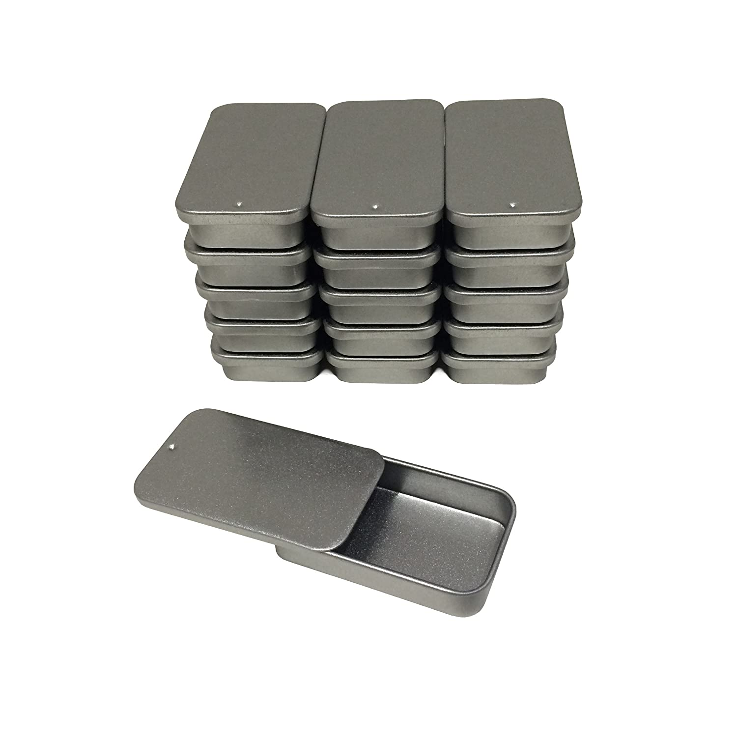 Cubic Ape Slide Top Tin Containers for Cosmetics, Lip Balm - Travel Storage - Small - 0.5 fl oz. (Pack of 16)