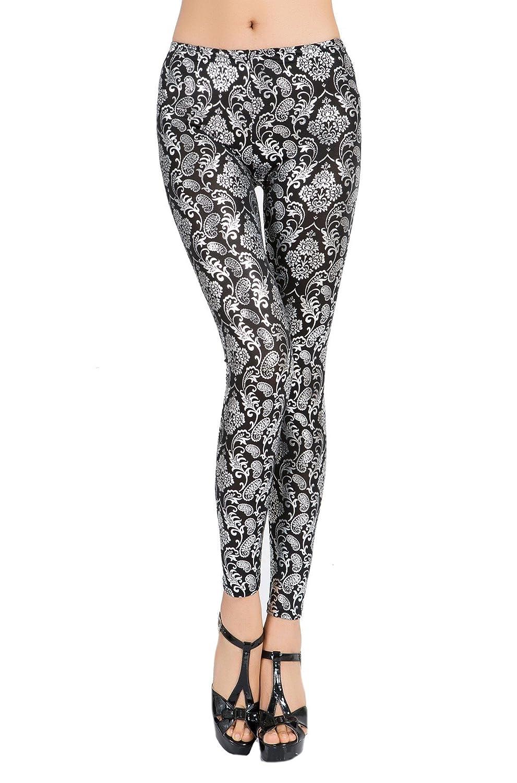 Abetteric Women Jeggings Floral Gilded Stylish Individuality Thin Baselayer Yoga Pants