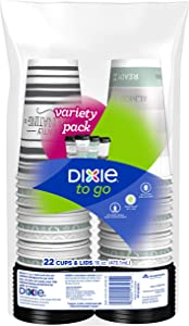 Dixie to Go Hot Beverage Cups & Lids, 16oz, 132 Count, Assorted Designs, Disposable Paper Coffee Cups & Lids