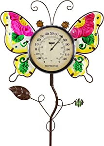 """Exhart Butterfly Thermometer Garden Stake - Butterfly Decor w/Pink Flower Glass Wings - Charming Garden Temperature Gauge Decorative Outdoor Thermometer for The Garden, Yard & Patio, 13 x 36"""""""
