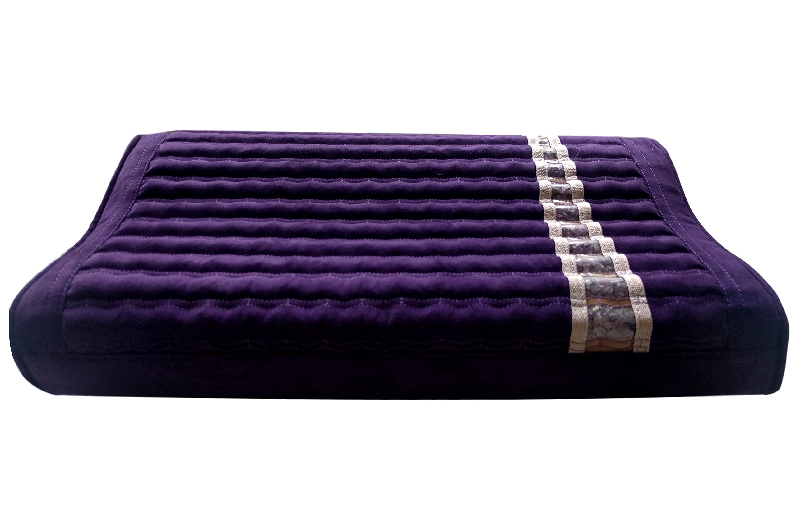 Far Infrared Amethyst Mat Pillow - Emits Negative Ions - Crystal FIR Rays - 100% Natural Amethyst Gemstones - Non Electric - For Headache and Stress Relief - To Sleep Better - GENTLE support - Purple by MediCrystal (Image #6)