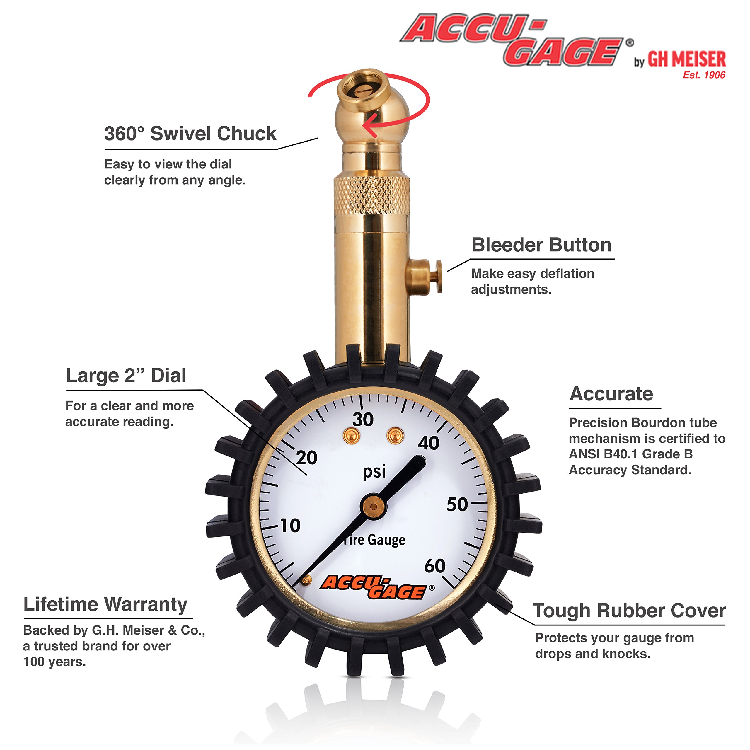 Accu-Gage RS60XA Professional Tire Pressure Gauge with Protective Rubber Guard (60 PSI) by Accu-Gage (Image #2)