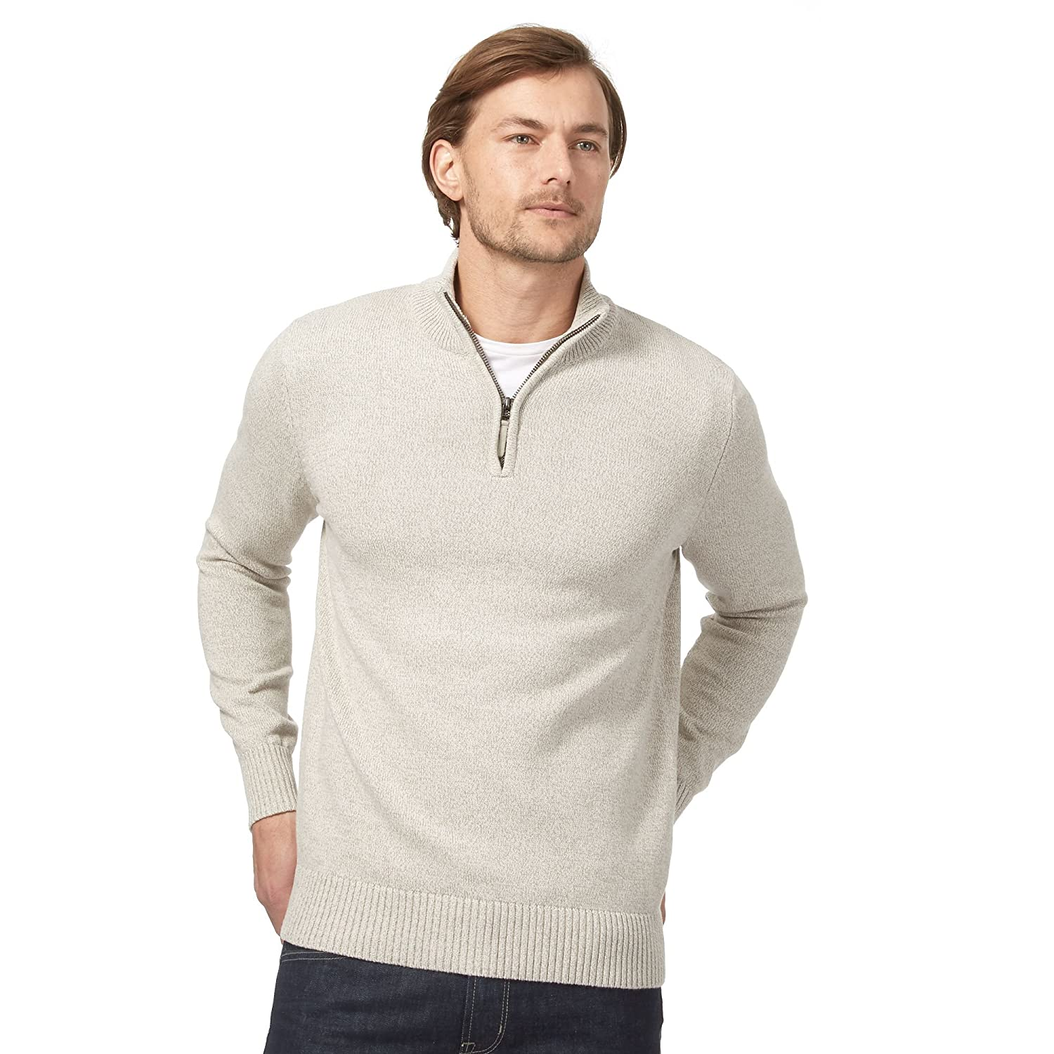 Maine New England Mens Beige Funnel Neck Sweater
