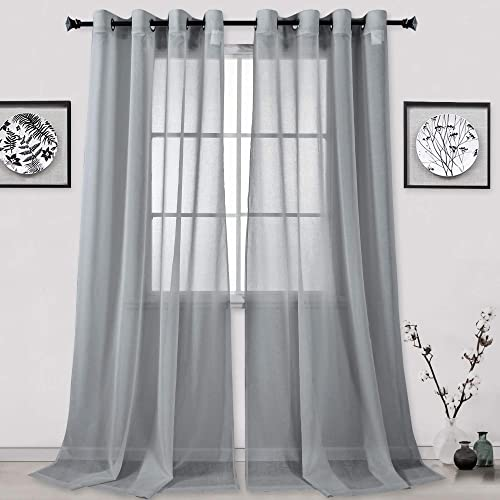 HUTO 2 Panels Semi Sheer Curtains 108 Inch Length Top Grommet Faux Linen Grey Extra Long Sheer Drapes Curtains for Living Room Each is 52Wx108L Total is 104 Inches Wide