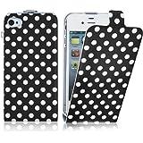 JAMMYLIZARD | Polka Dot Flip Case Hülle für iPhone 5 und 5s, SCHWARZ