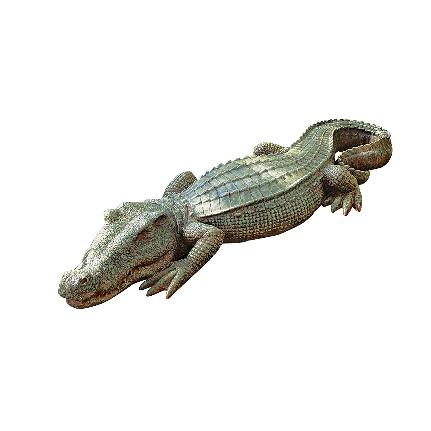 Alligator sculpture home garden pond crocodile outdoor for Alligator yard decoration