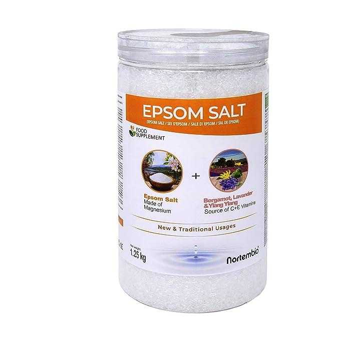 NortemBio Sal de Epsom 1,25 Kg. con Aceite Esencial de Bergamota, Ylang Ylang y Lavanda. con Vitamina C y E. Calidad Alimentaria. Especial para Baños.