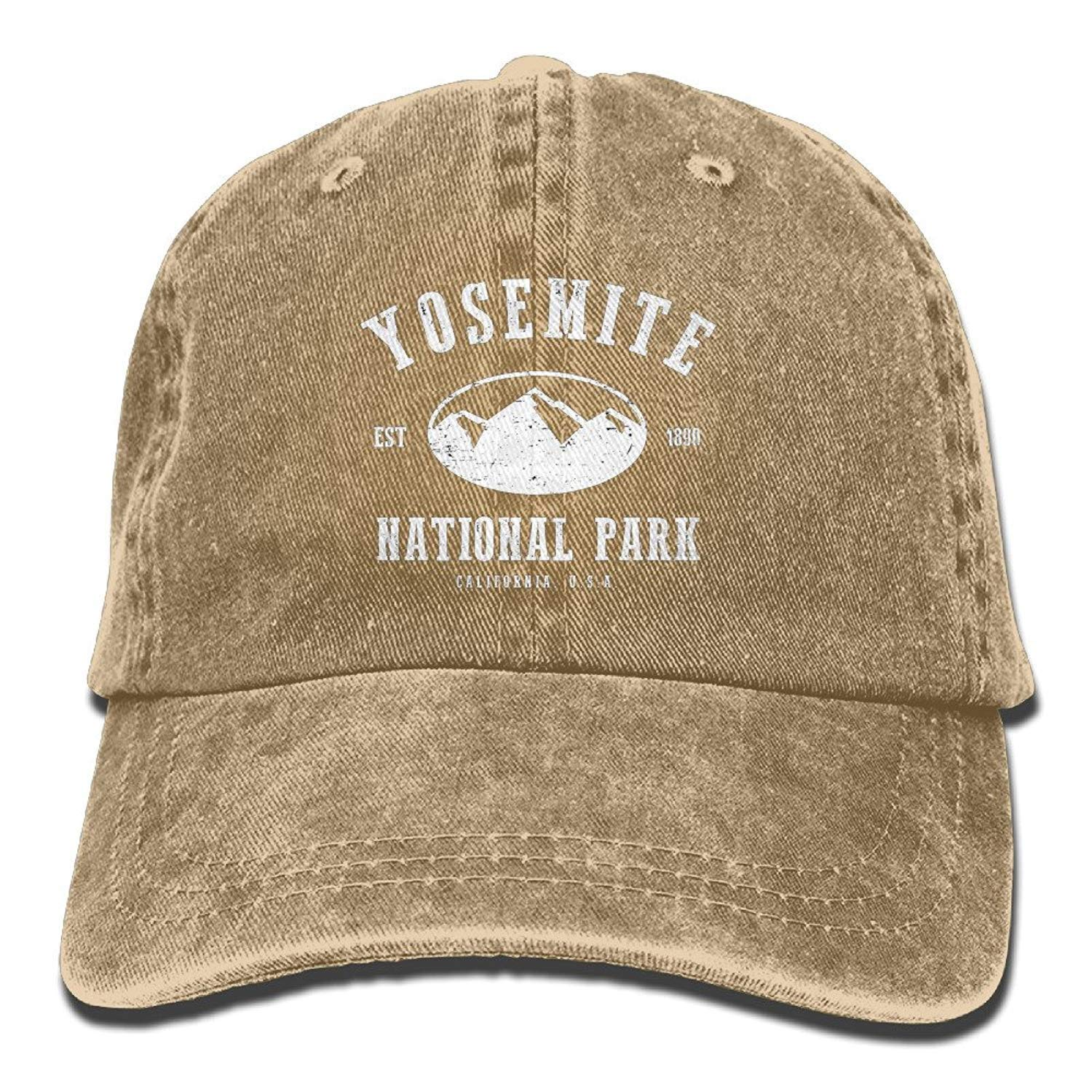 Yosemite National Park Retro Washed Dyed Cotton Adjustable Plain Cap Low  Profile HENBEERS 980c8dd1301d