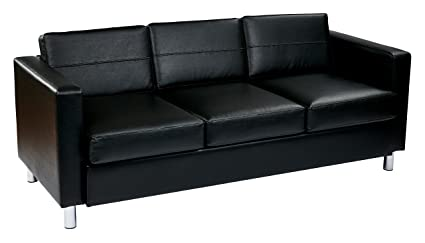 Ave Six Pacific Vinyl Sofa Couch With Spring Seats And Silver Metal Legs,  Black